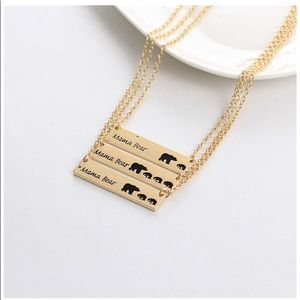 DAINTY GOLD MAMA BEAR BAR NECKLACE-w/1,2or3 Cubs!